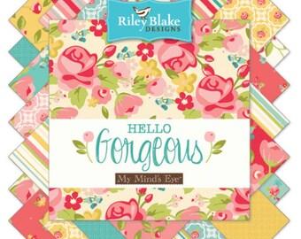 """Riley Blake Hello Gorgeous fabric - 10"""" squares, 42 pieces"""