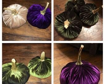 Large Velvet Pumpkins with Real Stems