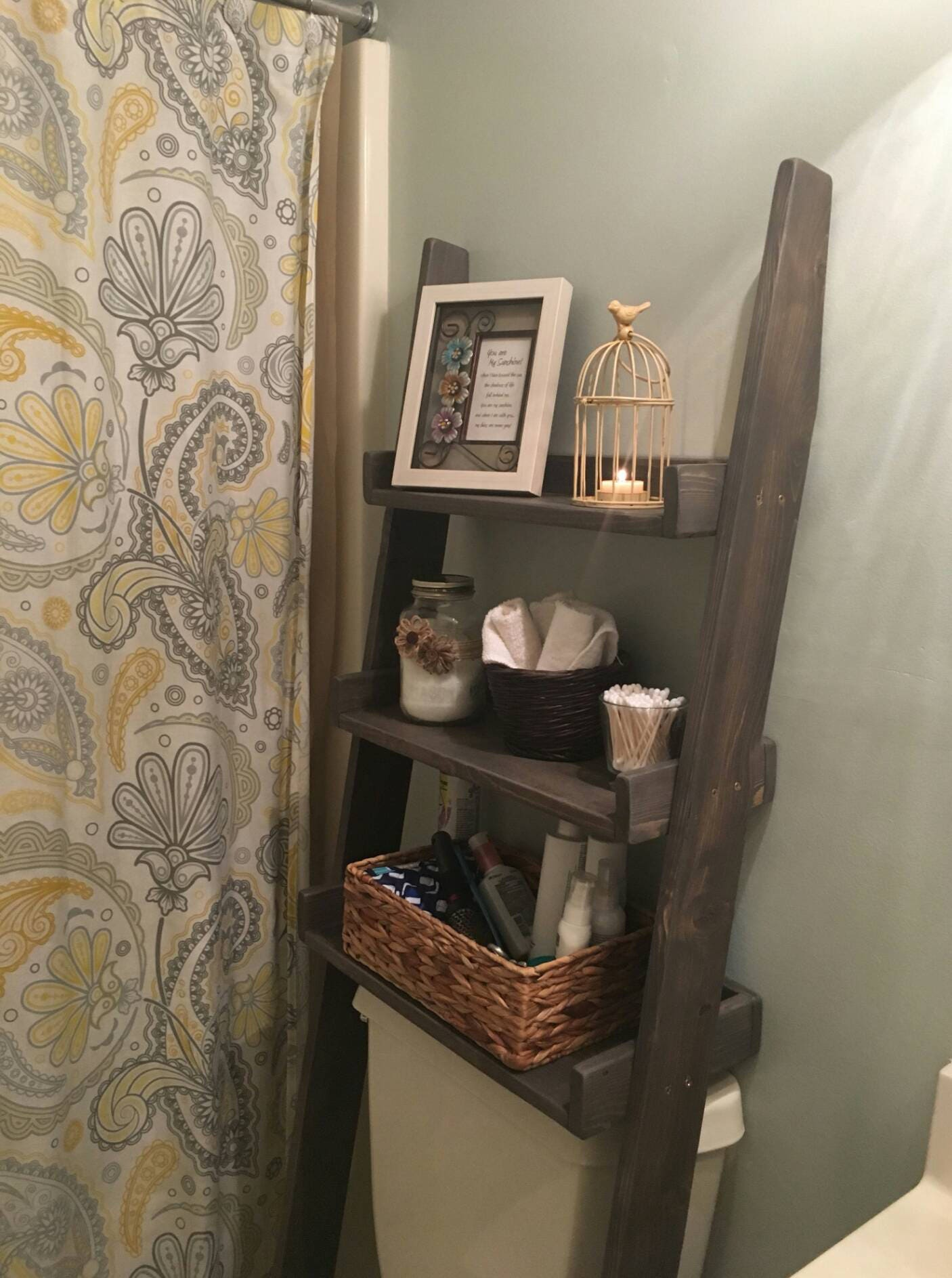 Over the Toilet Ladder Shelf Toilet Topper Bathroom Storage