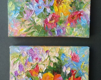 original oil paintings/red blue yellow/poppy flowers/set of 2
