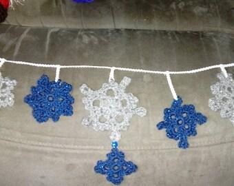 Crochet snowflake wall decoration