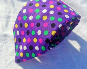 Purple Mardi Gras Polka Dot Tie, Green Yellow Black White Pink and Yellow Polkdots, Polka Dot Necktie, Fat Tuesday Necktie