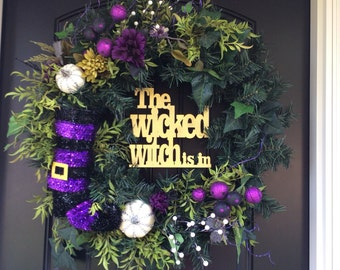 SALE Halloween Purple Witch boot wreath