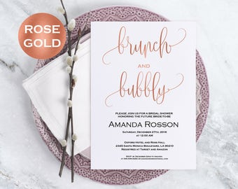 Rose gold bridal shower invitation - brunch and bubbly bridal shower invitation editable on Adobe Reader - invitation template #WDH302_1