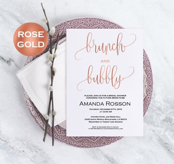 Rose gold bridal shower invitation - brunch and bubbly bridal shower invitation editable on Adobe Reader - invitation template #WDH812105