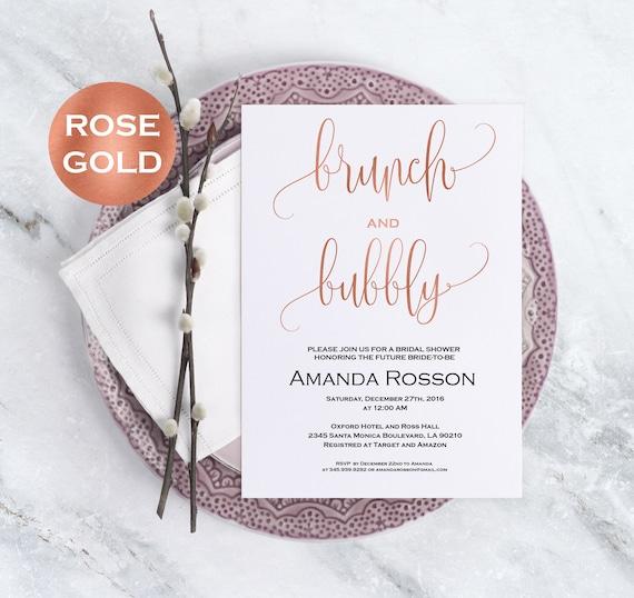 Rose gold bridal shower invitation - brunch and bubbly bridal shower invitation editable on Adobe Reader - invitation template #WDH812105