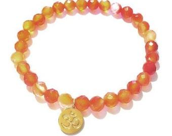 Little Gold Om Bracelet-Carnelian Gemstone Bracelet-Gold Om & Carnelian Gemstone Bracelet-Gold Om Charm-Yoga Jewelry-Spiritual Bracelet- Ohm