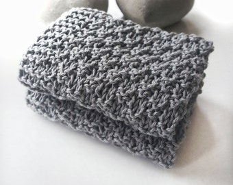 Set of two dark blue gray knitted cloths, wash cloths, dish cloths, natural cloths, blue dish cloths, gray dish cloths, hand made dishcloths