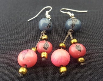 Earrings Acai Pink & Blue made in Ecuador