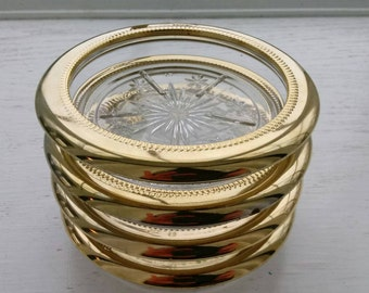 Mid Century Modern Gold Plated Glass Coasters -Made in Italy