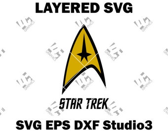 Star Trek Logo - Cutting File in SVG, EPS, DXF, and Studio3 - Cricut, Silhouette Cameo Studio - Make The Cut - Instant Download