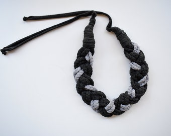 Statement necklace/ grey necklace/ trendy necklace/ t-shirt necklace/ braided necklace