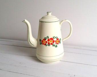 Beautiful enamel coffee pot with flower pattern