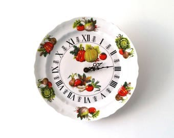 Vintage porcelain 'veggie plate' kitchen wall clock