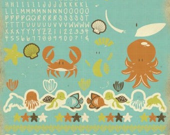 Letter Stickers, ABC Stickers, Alphabet Stickers, Border Stickers, Kaisercraft, Rock Pool, Sea Friends, Whale, Octopus, Crab, Seahorse