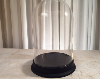 VTG Glass Bell Cloche Dome Display Black Wooden Base
