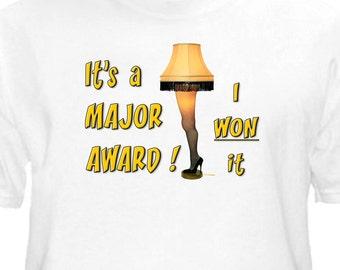 "Christmas Story ""MAJOR AWARD"" Leg Lamp Youth T-Shirt White, Leg Lamp Tee -NEW"