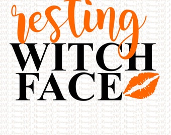 Halloween SVG, Resting Witch Face SVG, Cut File, Cricut File, Silhouette SVG