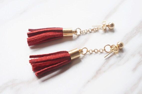 Stylish Red Gold Tassel Earings