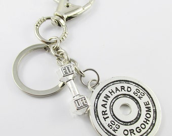 Fit Life Train Hard or Go Home Weightlifting Fitness Charm Keychain Swivel 127mm C2623/B121/KCF034