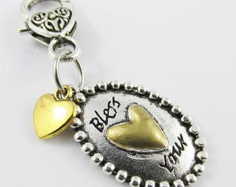 Bless your Heart Clip on Charm for Lanyard Bag or Zipper Pull