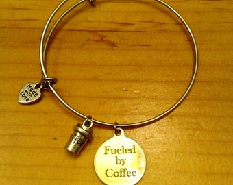 Coffee charm bangle bracelet