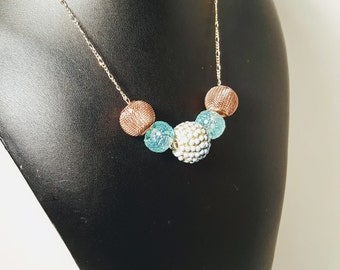 Bluish Teal Tinged Bauble Chain Necklace