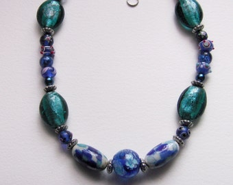 stunning blue glass and ceramic beaded necklace