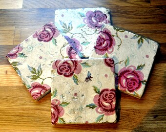 Set of Four Emma Bridgewater Style Rose and Bee Natural Stone Coasters