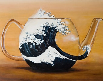 TEMPEST in A TEAPOT - Print From Original Oil Painting - Hokusai's Great Wave - Teacup -Surreal - Fine Art - Blue Gold