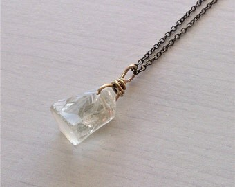 green amethyst necklace,raw crystal necklace, raw green amethyst, vermarine jewelry, gift for her, rough crystal jewelry,Simple jewelry