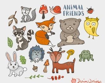Woodland creatures clipart commercial use, frog animals fox rabbit squirrel woods hedgehog raccoon owl squirrel clip art, instant download