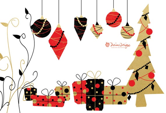 Elegant Christmas clip art commercial use by DurianDesigns ...