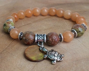 Bracelet of Aventurine and Unakite, with turtle of the luck