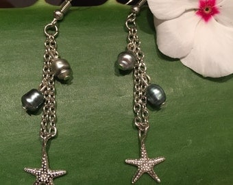 Keshi Pearl and Starfish Earrings