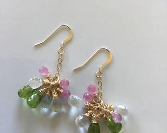 Multi briolette earrings