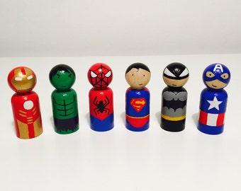 Superhero Peg Dolls - Wooden Peg Dolls - Superman-Spiderman-Hulk-Ironman-Captain America-Batman - Handpainted - Homemade - Superhero Toys