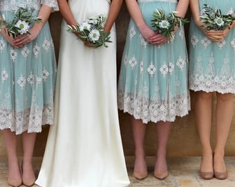 Bespoke Vintage Style Lace Bridesmaids Dresses In Ivory And Reef Green