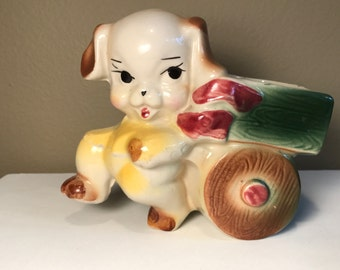 Puppy Dog Planter, Vintage Dog Pulling Cart Planter, 1950's Puppy Dog Nursery Decor, 1950's Ceramic Dog Planter, Vintage Dog Figurine