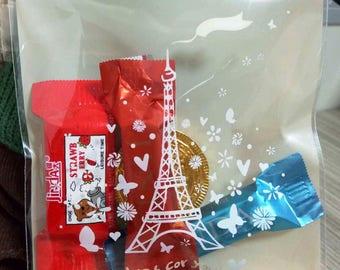 25PCS/Lot Eiffel Tower Gifts Bags Self-adhesive Bake Cookies Biscuit Plastic Packaging Bags