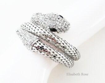 Silver Snake Bracelet, Snake Bracelet, Snake Jewellery, Sparkly Silver Snake Cuff Bracelet, Snake Wrap Around Bracelet, Reptile Jewelry