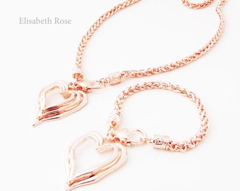 Heart Necklace and Matching Bracelet, Heart Jewellery Set, Necklace and Bracelet Set, Rose Gold Heart Necklace, Heart Necklace Set