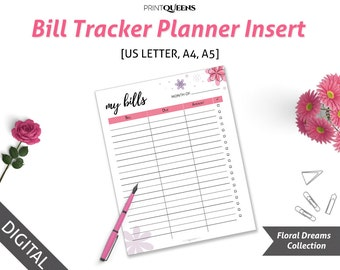Bill Tracker Planner Inserts, Debt Payoff, Financial Planner 2018, A5 Finance Planner 2018, Financial Planner Inserts, A5/A4/Letter Size