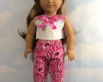 "Pink country capris set for 18"" American girl dolls"