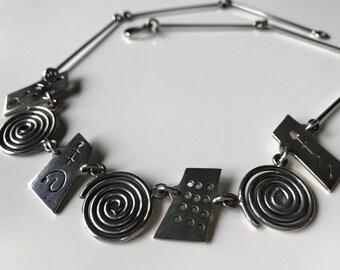 Vintage Sterling Silver Artisan Necklace, Chunky Sterling Silver Necklace, Sterling Silver Statement Necklace, 34g