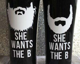 She wants the B, 16.5 oz. Plastic Double wall Coffee Tumbler, Beard Mug, Masculine Coffee, Attitude Cup, Black