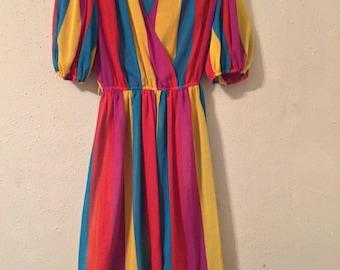 1970s Semi Sheer Rainbow Stripe Dress