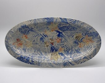 Ceramic dish-oblong-abstract leaf pattern-Handmade in Scotland-kitchen-dining-home decor-interiors