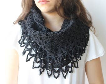 Neck warmer infinity Scarf Neck wrap crocheted with fringe and beads. Large wool necklace