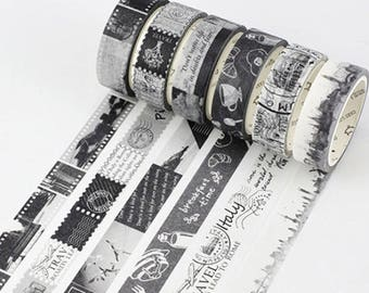 Black and White Washi Tape, Film Washi Tape, Black and White Postmark Decorative Tape